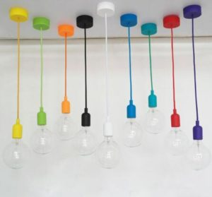Cord Pendant Light with plastic canopy E27 silicone lamp holder