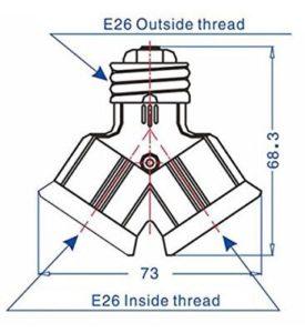 Dual E26 to 2E26 Bulb Light Holder Splitter adapter