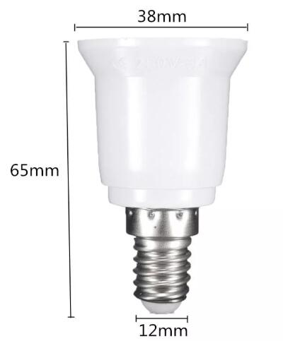 E14 to E27 Lamp Base Screw Lamp Holder Diagram Size