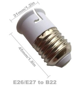 E27 To B22 Adaper Lamp Holder size diagram dimension
