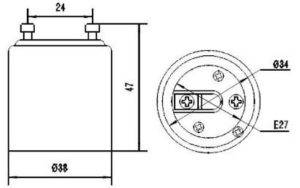 GU24 TO E27 BULB ADAPTER DIAGRAM