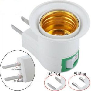 Light Bulb Plug US to E27 LED Lamp Holder Adapter With Switch